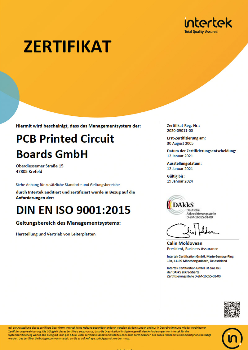 Printed Circuit Boards DIN EN ISO 9001:2015
